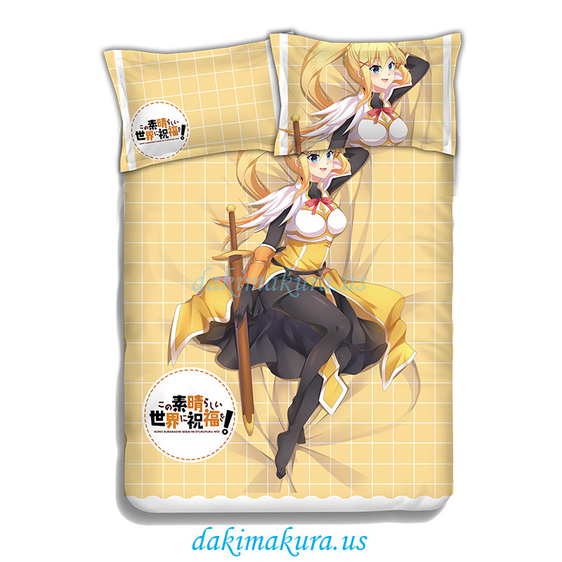 Darkness -KonoSuba Anime 4 Pieces Bedding Sets,Bed Sheet Duvet Cover with Pillow Covers