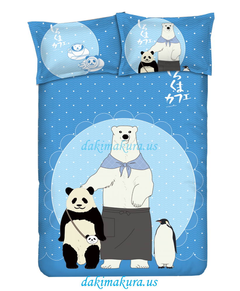 Panda - Shirokuma Cafeblue Anime Bed Blanket Duvet Cover with Pillow Covers
